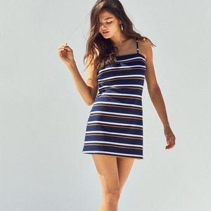 Kendall Kylie navy knit striped dress